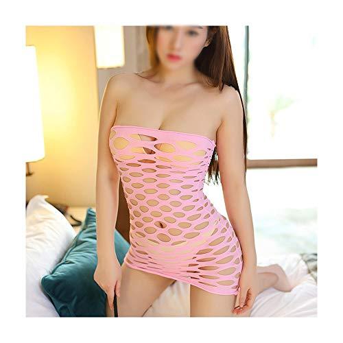 Kerr Louisa Sexy Unterwäsche Hohl Perspektive Netzstrümpfe Loch Tasche Hip Mesh Tube Topless Bodysuit Anzug Frauen Dessous (Farbe : Rosa)