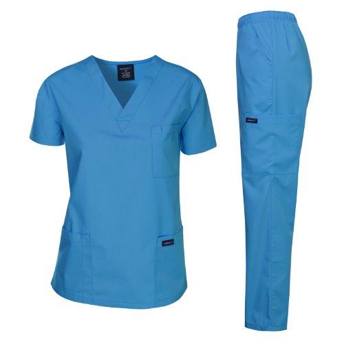 Dagacci Medical Uniform Woman and Man Scrub Set Unisex Medical Scrub Top and Pant, Turquoise, XXXL