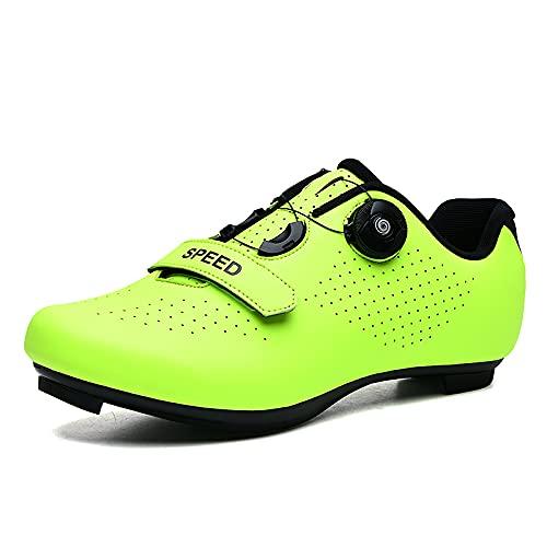 KUXUAN Zapatillas de Ciclismo para Hombre Mujer Spin Shoestring con Tacos Compatibles Peloton Shoe Lock Pedal Bike Shoes,Green-6.5UK=(250mm)=40EU