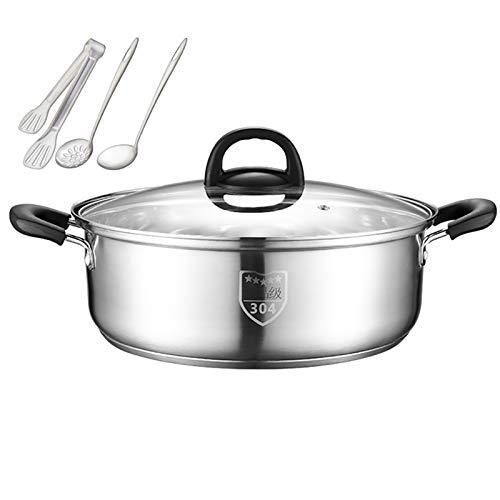 Olla de cocción al vapor, acero inoxidable 304, olla de sopa/olla caliente, hogar/comercial, 26/28/30/32 cm, apta para cocina de inducción/estufa de gas (1-10 personas) sartén (tamaño: 30 cm)