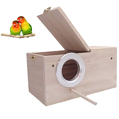 HANG Parakeet Nest Box Bird cage with Natural Pine Wood, Bird Nest Breeding Box Cage for Budgie/Cockatiel/Conure/Parrot/Dove
