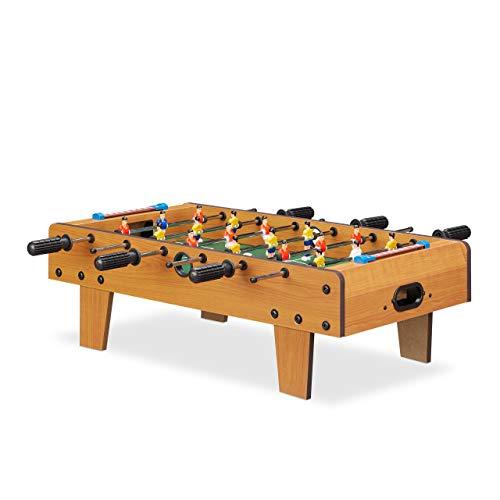 Relaxdays Tischkicker, Tischfussball Kinder und Erwachsene, Fußball Tischspiel, Holz-Optik, B x T 69 x 37 cm, grün-braun