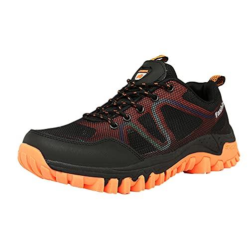 MTINGZU Men's Women's Hiking Shoes Outdoor Sneakers Trekking Camping Trail Breathable Couple Shoes Athletic Walking Lightweight Anti-Slip Waterproof Low Top Quick-Dry blackorange 9.5 Men