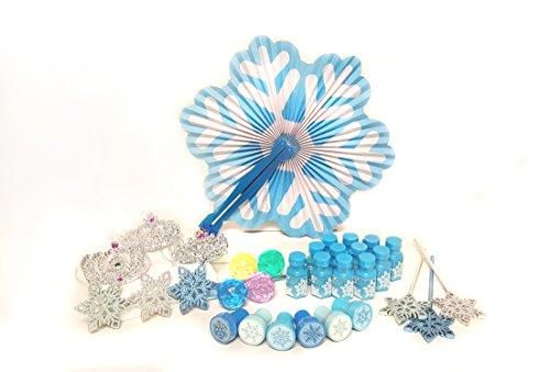 Shop Zoombie 72 Piece Frozen Snowflake Princess Party Pack Winter Wonderland Party Supplies - Stampers, Bubbles, Fans, Wands, Tiaras, Party Favors