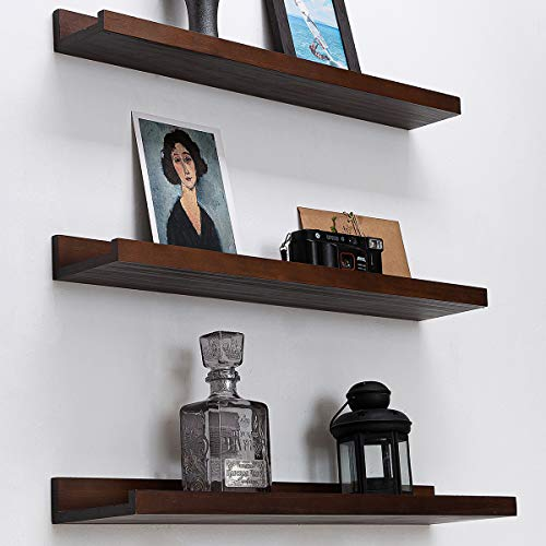 Espresso Floating Picture Shelves 24inch Denver Modern Wall Mount Long Narrow Wall Shelf Picture Ledge Mounting Hardware Included Pine