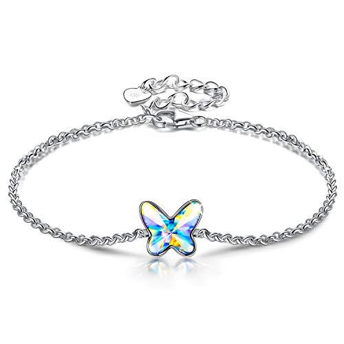 ANGEL NINA Pulsera Mujer Plata Azul Pulseras Mariposa de Plata de Ley 925 Cristale Pulsera Niña...