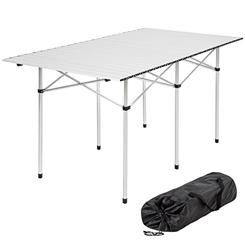 TecTake XXL Tavolo camper campeggio picnic alluminio pieghevole arrotolabile 140x70x70cm