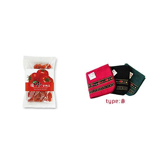 [2点セット] 朝どり 塩とまと甘納豆(150g)・さるぼぼ 刺繍ミニタオル【赤】