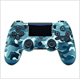 JayQm PS4 Game Controller, Playstation 4 Bluetooth Game Wireless Game Manija Controlador de Joystick, Motor de Doble vibración, Tira de lámpara LED, Mango Antideslizante - Camuflaje Azul