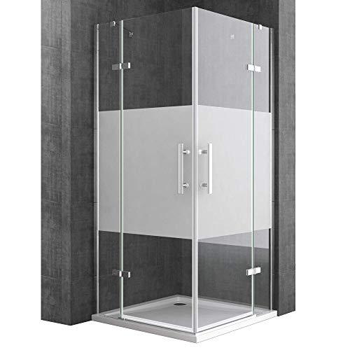 Sogood Eck-Duschkabine Eckdusche Ravenna30MS 100x140x195cm Duschabtrennung mit Milchglas Streifen ESG-Sicherheitsglas inkl. Easy-Clean-Beschichtung