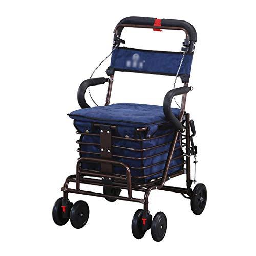 GWXTC Faltbarer Bollerwagen Alter Mann Faltbarer tragbarer Einkaufswagen, Lebensmitteleinkauf/Walker/Rest Seat Stangenbremsen-Doppellagerrad Multifunktionswagen, Belastung: 100 kg (Color : Blue)
