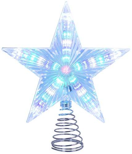 The Christmas Workshop-Luce a batteria multicolore LED lampeggiante stella per albero di Natale, bianco