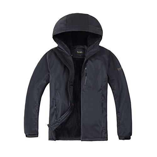 PAKASEPT Technical Jacket Waterproof Jacket Winter Warm Fleece with Hood Windproof Camping Hiking Coat