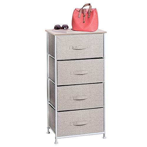 mDesign Cassettiera in tessuto con 4 cassetti – Armadio di stoffa universale ideale come cassettiera camera o ufficio – Comodino leggero in tessuto traspirante – beige