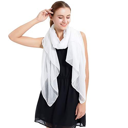 sciarpa bianca KAVINGKALY Sciarpa in cotone da donna tinta unita con grandi scialli trasparenti per la sera (bianco)