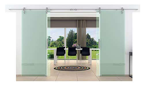 Doppel-Glasschiebetür 2050 x 2050 mm Klarglas Levidor® Edelstahl-System komplett Laufschienen/Laufrohre und Stangengriffe Schiebetür aus Glas für Innenbereich ESG-Sicherheitsglas