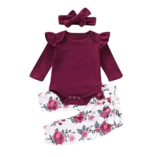 LEXUPE Kleinkind Baby Mädchen Langarm Strampler Tops + Floral Pants + Stirnbänder Set Outfits(Wein,80)