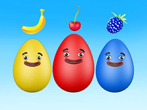 Lernen Sie Farben mit Eiern und Früchten