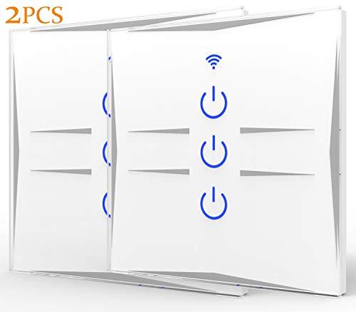 avis amazon echo et google home professionnel Prise murale tactile à commande vocale avec Amazon Echo et Google Home, WiFi, verre trempé, blanc