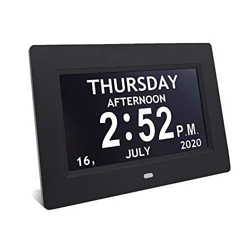 Reloj digital de día con calendario y marco de fotos, con 12 opciones de alarma, reloj digital de visión deteriorada extra grande con reloj despertador de día y mes sin abreviar (17,8 cm), color negro