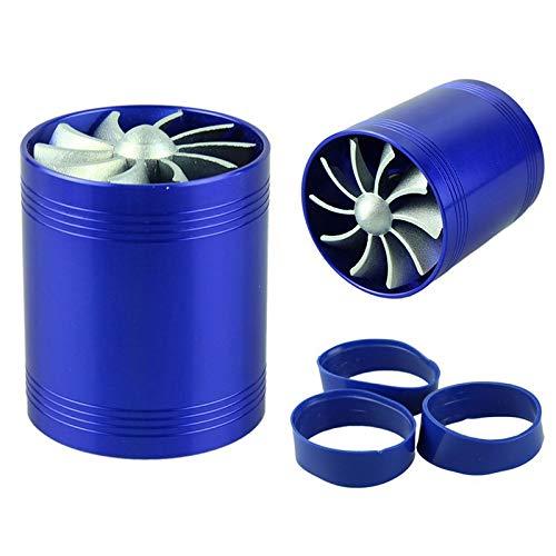 OYWNF Coche Supercharger Doble Azul Motor Enhancer Turbina Turbo Cargador del Filtro de Aire del Ventilador de admisión de Combustible de Ahorro de Gas Kit de Accesorios del Coche