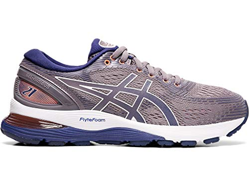 ASICS Women's Gel-Nimbus 21 Running Shoes, 6.5M, Lavender Grey/Dive Blue