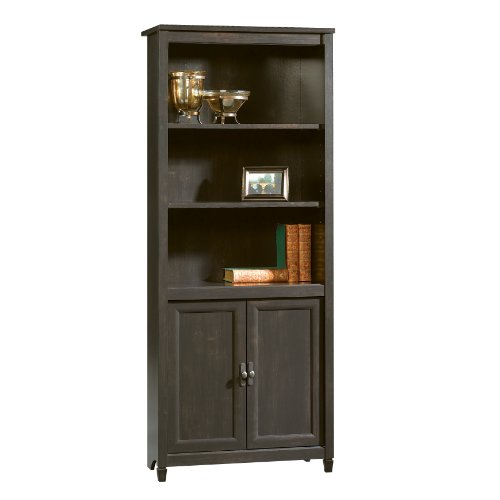 Sauder Edge Water Library With Doors, Estate Black finish