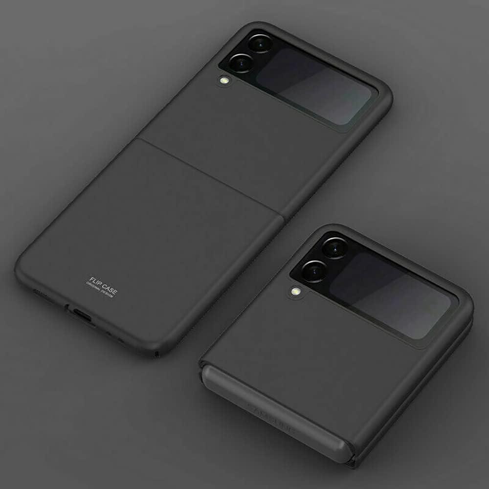 for Samsung Galaxy Z Flip 3 5G Shockproof Folding Ultra Slim Hard PC Case Cover, for Samsung Galaxy Z Flip 3 5G Luxury Hybrid Matte PC Hard Shockproof Case Cover (Black)