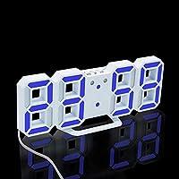 3Dデジタル目覚まし時計、電子主導のデジタル目覚まし時計、スヌーズ3の明るさのサイレント時計、モダンな常夜灯のベッドサイドデスク-白/青