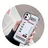 HOUBL New York Los Angeles Paris Tokyo City Label - Carcasa para iPhone X XS MAX 11 Pro XR 7 8 Plus funda para boletos de avión de viaje (para iPhone 11Pro Max, Seúl)