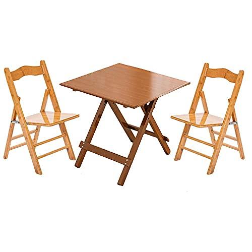 LNNL Mesas portátiles y sillas Plegables de Madera Maciza Inicio Picnic al Aire Libre Instalación Gratuita Color Antiguo Tablas cuadradas y sillas (Color : Antique Color, Size : 80 * 80 * 75cm)