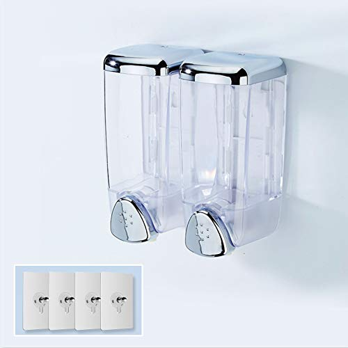 Manual Hand Sanitizer Dispenser,Wall Mount Soap Dispenser Commercial Shampoo Dispenser for Bathroom Kitchen Restaurant Plastic 300300 ml Container 5Pack