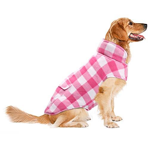 ASENKU Dog Winter Coat, Dog Fleece Jacket Plaid Reversible Dog Vest Waterproof Windproof Cold...