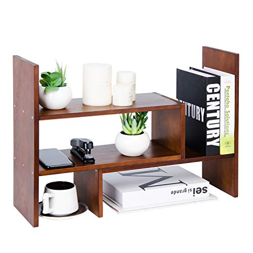 Liry Products Adjustable Extendable Natural Wood Desktop Organizer Caddy Desk Organizer Countertop Shelf Bookcase Display Stand Rack Expandable Storage Office Home, Brown