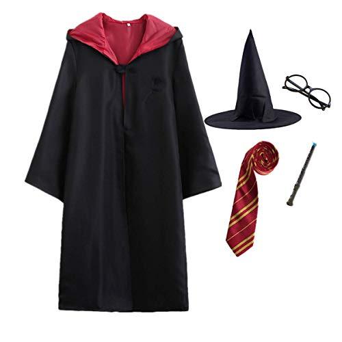 O.AMBW-Disfraz de Capa para Adultos y niños de Harry Potter, Juego de Disfraces/Varita mágica/Corbata/Bufanda/Gafas/Sombrero/Falda/Camisa/Carnaval Disfraz de Halloween S-2XL 115-155cm