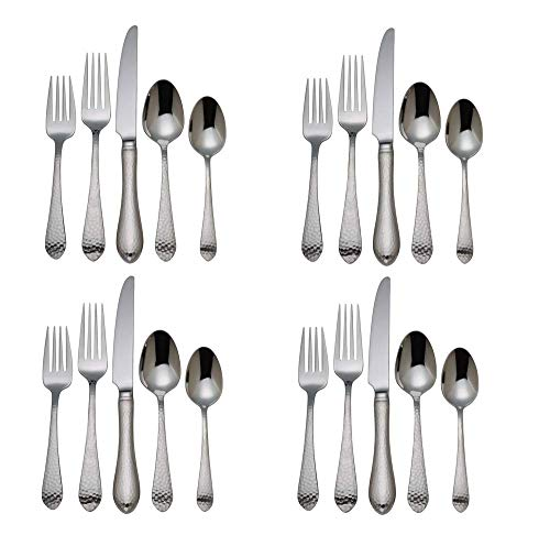 Reed & Barton Hammered Antique 18/10 Stainless Steel - 20 Piece Set (Service for Four)
