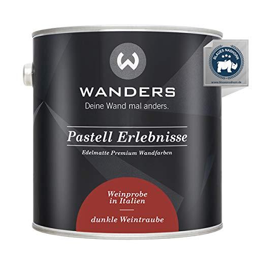 Wanders24® Pastell Erlebnisse (2,5 Liter, dunkle Weintraube) edelmatte Wandfarbe - Feine Farben - in 40 Farbtönen - Wandfarbe Grau - Made in Germany