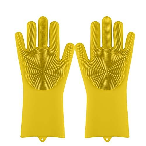 Magie silicone vaisselle Scrubber lavage vaisselle Gants en caoutchouc éponge Scrub cuisine Nettoyage 1 paire (Color : Yellow)