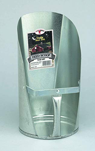 LITTLE GIANT Galvanized Feed Scoop (6 Quart) Heavy Duty Durable Stackable Feed Scoop with Enclosed Handle (Item No. 9206)