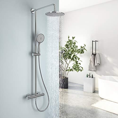 EMKE Duschsystem Regendusche mit Thermostat Mischer, 5 Strahlarten Handbrause und höhenverstellbare Duschsäule Duschset, 23cm Rund Überkopfbrause, chrom