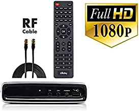 Exuby Digital Converter Box for TV with Coaxial Cable for Watching & Recording Full HD Digital Channels at No Cost - Instant & Scheduled Recording, 1080P, HDMI Out, 7 Day Program Guide