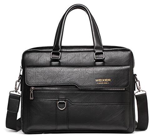 GYL-JL Retro PU Leather Briefcase Business For Men Handbags Male Vintage Shoulder Messenger Bag Men 14inch Large Laptop Handbags (Color : Black, Size : 14inch)