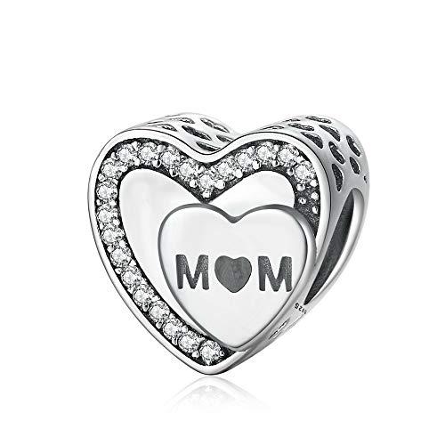 QWEILOY 925 Sterling Silber Anhänger Echte Liebe für Mo R Original Armband Armreif für Frauen Modeschmuck Geburtstagsgeschenk