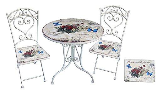 Garden Pleasure 3tlg. Landhaus Bistro Set Balkon Terrasse Metall antik Shabby weiß Sitzgruppe