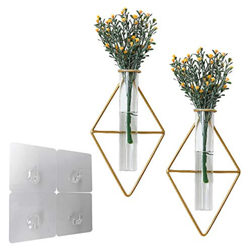 nullie 壁掛け 一輪挿し 花瓶 ガラス管 ひし形 多肉植物 エアプランツ 2点セット