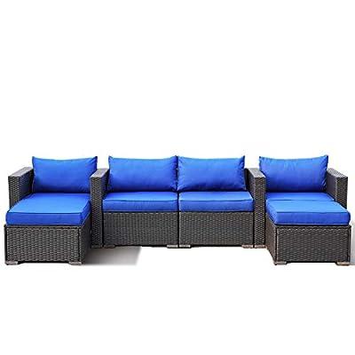 Outdoor Rattan Sofa Set 6-Piece Patio Furniture Garden Seating Brown PE Wicker with Royal Blue Cushion