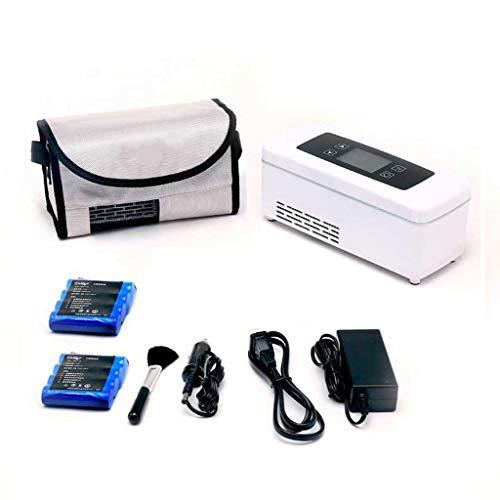 Koelbox, draagbare koelbox, warm en koud, dual control, intelligente thermostaat, mini-koelkast (met twee ingebouwde batterijen).