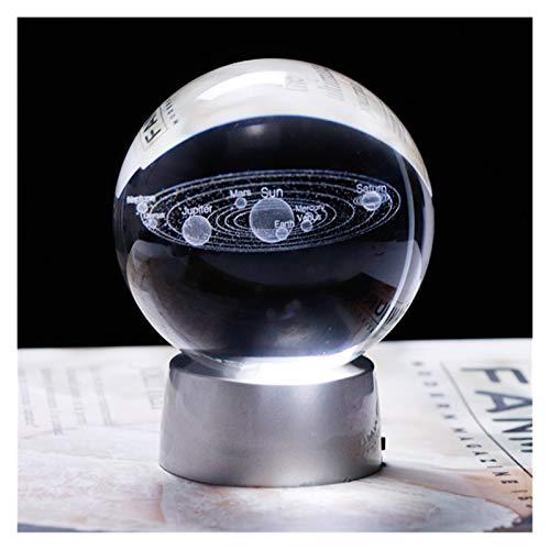 THQC Miniatura Base de la Bola de Cristal de la Bola de Cristal Grabado Solar System 3D Ball Planetas Globo de Cristal Modelo Esfera del Ornamento Decoración de Regalos