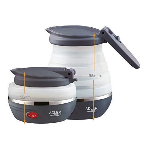 Adler AD1279 Hervidor de Agua Eléctrico Plegable, 0,6L, 750W, Libre de BPA, 750 W, 0.6 litros, 0 Decibelios, plástico, Blanco/Gris Oscuro