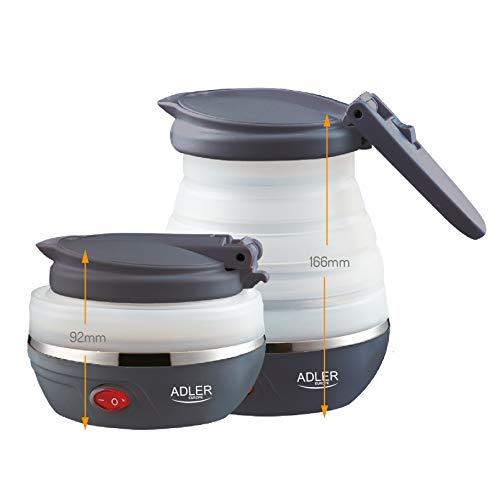 Adler AD1279 Hervidor de Agua Electrico Plegable, 0,6L, 750W, Libre de BPA, 750 W, 0.6 litros, 0 Decibelios, plastico, Blanco/Gris Oscuro